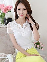 Women's Going out Casual/Daily Work Cute Street chic T-shirt,Solid Embroidered V Neck Short Sleeve White Polyester