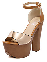 Sandals Summer Club Shoes Patent Leather Dress Chunky Heel Buckle Black Champagne