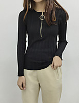 Stalls Sign CHIC wind Korean fashion ring zipper Slim was thin vertical stripes long-sleeved sweater