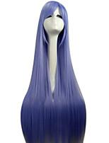 luz sintética azul 80 centímetros reta longa peruca traje cosplay peruca completa lolita das mulheres