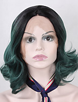 Heat Resistant Synthetic Lace Front Bob Wigs Loose Wave Hair Ombre T1B/Green Color Bob Synthetic Fiber Hair Lace Wigs