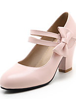 Tacón Robusto-Zapatos del club-Tacones-Oficina y Trabajo Vestido Informal-PU-Negro Rosa Beige