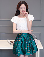 Sign 2016 summer new women print dress Korean version of Slim short-sleeved piece fitted skirt A word skirt