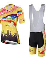 Miloto חולצת ג'רסי ומכנס קצר ביב לרכיבה יוניסקס שרוול קצר אופניים שורטים (מכנסיים קצרים) מרופדים גרביונים ביב ג'רזיכיס אחורי תומך זיעה