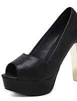 Heels Spring Club Shoes Microfibre Dress Chunky Heel Black Silver