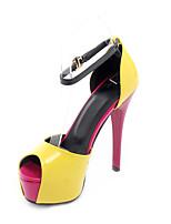 Черный Желтый Пурпурный-Для женщин-Свадьба Для праздника Для вечеринки / ужина-Полиуретан-На шпильке-Гладиаторы С ремешком на лодыжке