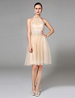 LAN TING BRIDE גזרת A שמלת חתונה - שיק ומודרני פתוח בגב שמלות חתונה צבעוניות באורך  הברך קולר טול עם אפליקציות חרוזים בד נשפך