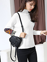 Model real shot white patch half turtleneck sweater national wind