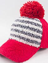 Women Wool Warm Stripe Printing Cat Ear Leopard Plush Baseball Cap