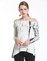 Damen Druck Niedlich Street Schick Ausgehen Lässig/Alltäglich T-shirt,Bateau Frühling Sommer Langarm Weiß Baumwolle Dünn