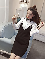 Sign in early spring 2017 new long-sleeved V-neck harness dress shirt piece fitted women