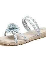 Sandalen-Lässig-PU-Flacher Absatz-Komfort-Schwarz Blau Rosa