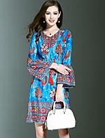 Для женщин На выход На каждый день Праздник Винтаж Изысканный А-силуэт Шифон Платье Цветочный принт,V-образный вырез До коленаДлинный