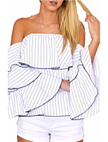 Women's Casual/Daily Club Sexy Simple Loose All Match Spring Fall T-shirtStriped Backless Layered Boat Neck Flare Sleeve Medium
