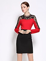 Going out Work Sexy Sophisticated Sheath Dress,Patchwork Crew Neck Above Knee Long Sleeve Cotton Red Green Fall Winter Mid Rise Inelastic