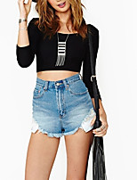 Women's Casual/Daily Club Sexy Simple Spring Fall Bare Midriff  Fashion All Match Backless T-shirtSolid Criss-Cross Round Neck  Sleeve Medium