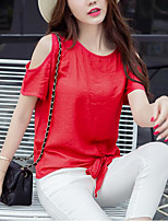 Tee-shirt Femme,Couleur Pleine Décontracté / Quotidien simple Printemps Eté Manches Courtes Col Arrondi Bleu Rouge Blanc Polyester Moyen