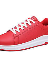 Sneakers Summer Fall Comfort Leather Outdoor Casual Lace-up Black Red White