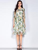 Для женщин На выход На каждый день Пляж Простое С летящей юбкой Платье Цветочный принт,Круглый вырез До колена Рукав ½ Зеленый ШёлкВесна