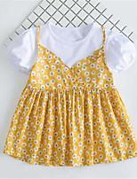 Girl's Print Dress,Cotton Summer Short Sleeve