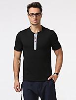 Herren Solide Einfach Lässig/Alltäglich Formal Urlaub T-shirt,Umlegekragen Kurzarm Baumwolle