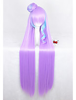 Long Straight Pink Blue Mixed Macross Mikumo Guynemer Synthetic 44inch Anime Cosplay Wig1Ponytail CS-291A