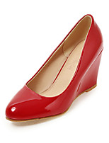 Heels Spring Summer Fall Winter Club Shoes Patent Leather Office & Career Dress Casual Wedge Heel Black Red White