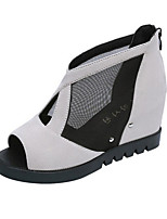 Sandals Spring Summer Fall Comfort Tulle Leatherette Dress Casual Flat Heel Black Gray Beige