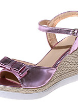Sandals Summer Club Shoes Comfort Patent Leather Leatherette Office & Career Dress Casual Wedge Heel Bowknot Buckle Blue Pink Silver Gold