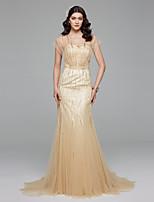 LAN TING BRIDE Trompette / Sirène Robe de mariée Tout Simplement Superbe Colorées Traîne Brosse Col en V Tulle avec Perlage