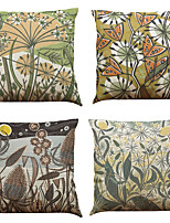 Set of 4 European plants pattern  Linen Pillowcase Sofa Home Decor Cushion Cover