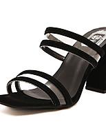 Feminino-Sandálias-Sapatos clube-Salto Grosso Salto de bloco-Branco Preto-Borracha-Social