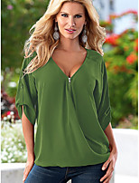 Spot ebay AliExpress Europe and America new burst edition loose big yards deep V-neck solid color chiffon shirt sleeve