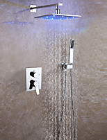 Wall Mounted Bathroom Shower Faucet Set / 10 Inch Rainfall LED Shower Head / Hot And Cold Mixer Valve With Easy-Installation Embedded Box Included