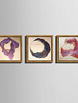 Abstrato Paisagem Quadros Emoldurados Conjunto Emoldurado Arte de Parede,PVC Material Dourado Sem Cartolina de Passepartout com frame For