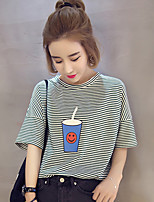 2017 spring and summer new Korean loose hedging pinstripe wild cups printing straight female student t-shirt