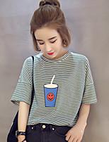 2017 Frühling und Sommer neue koreanische lose Sicherungs Nadelstreifen wilde Tassen gerade weibliche Schüler T-Shirt Druck