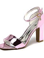 Women's Sandals Summer Club Shoes PU Dress Chunky Heel Block Heel Rhinestone Silver Blushing Pink Screen Color