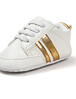 Baby Flats Spring Fall First Walkers Leatherette Outdoor Casual Low Heel Magic Tape Gold White Black Walking