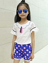 Casual/Daily Polka Dot Patchwork Sets,Cotton Summer Short Sleeve Clothing Set