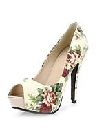 Women's Sandals Spring Summer Fall Comfort Linen Wedding Casual Party & Evening Stiletto Heel Flower Beige Blue Walking
