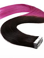 20pcs 50g neitsi 20 '' ombre trama de pele fita em linha reta em extensões de cabelo humano T1b qualidade de grau 5a / roxo #