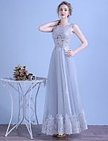 Formal Evening Dress A-line Scoop Floor-length Tulle with Appliques