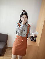 Sign new fall striped shirt + strap dress two-piece suit women