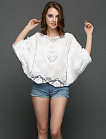 Going out Casual/Daily Holiday Simple Street chic Spring Summer Blouse,Solid V Neck Long Sleeve Red White Black Cotton Polyester
