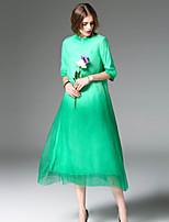 Balançoire Robe Femme Sortie Vacances Mignon,Couleur Pleine Mao Midi ½ Manches Bleu Rouge Vert Soie Printemps Eté Taille Normale