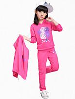 Girl Casual/Daily Plaid Sets,Cotton All Seasons Long Sleeve Clothing Set