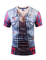 Men's Casual/Daily Party/Cocktail Club Street chic Active Punk & Gothic T-shirt,Print Round Neck Short Sleeve Polyester