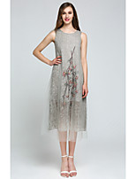 Для женщин На выход На каждый день Секси Очаровательный С летящей юбкой Платье Однотонный,Круглый вырез Ассиметричное Без рукавовСиний