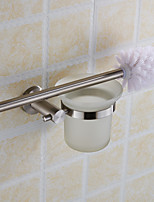Stainless Steel Toilet Brush Holder With Frosted Glass Cup Bathroom Accessories